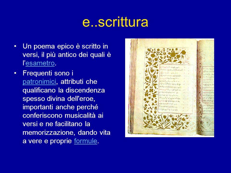 e..scrittura Un poema epico è scritto in versi, il più antico dei quali è l'esametro.