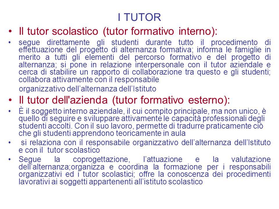 Il tutor scolastico (tutor formativo interno):