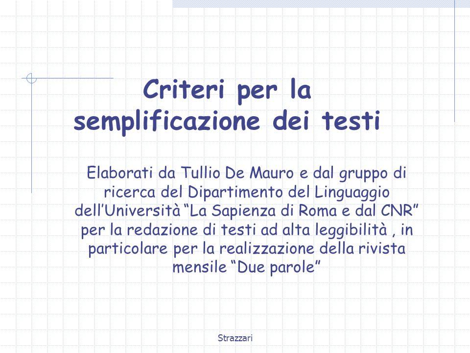 Criteri per la semplificazione dei testi