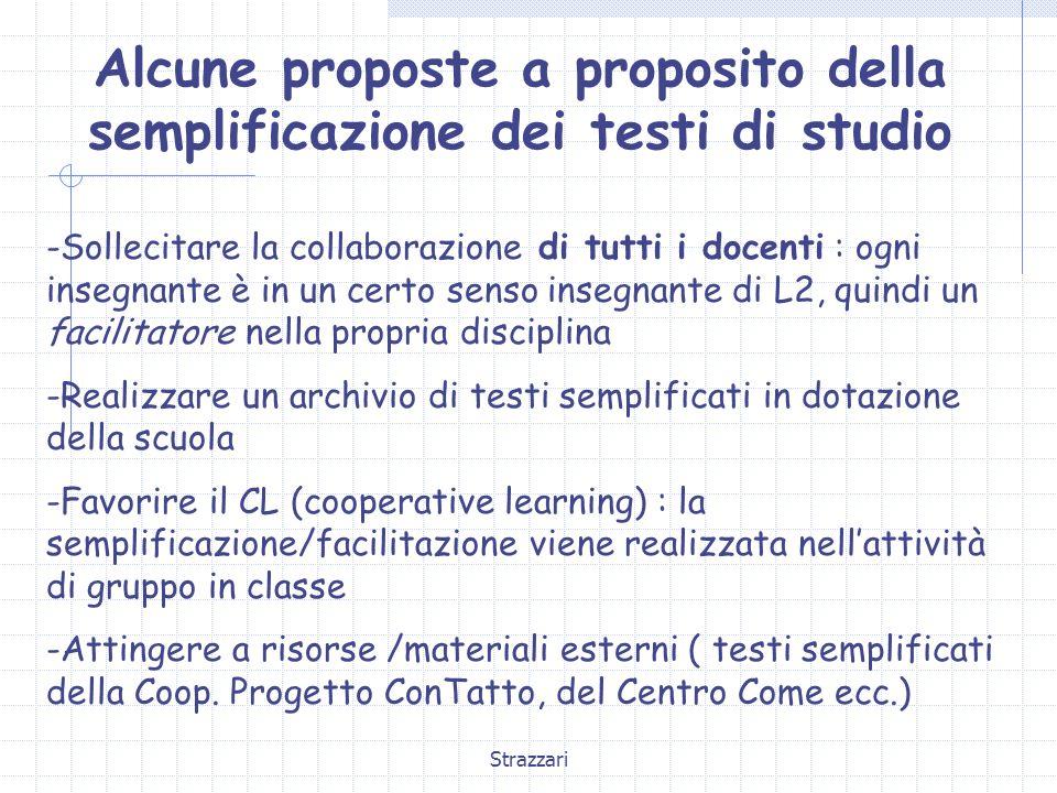 Alcune proposte a proposito della semplificazione dei testi di studio