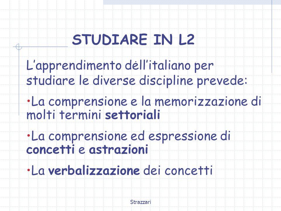 STUDIARE IN L2 . L'apprendimento dell'italiano per studiare le diverse discipline prevede: