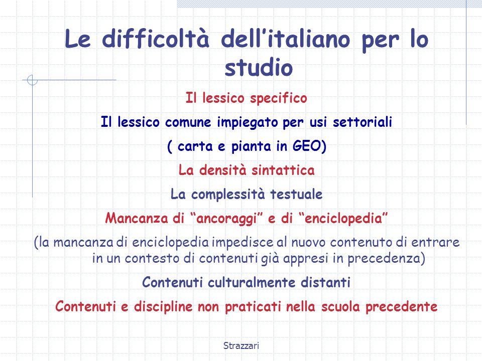 Le difficoltà dell'italiano per lo studio