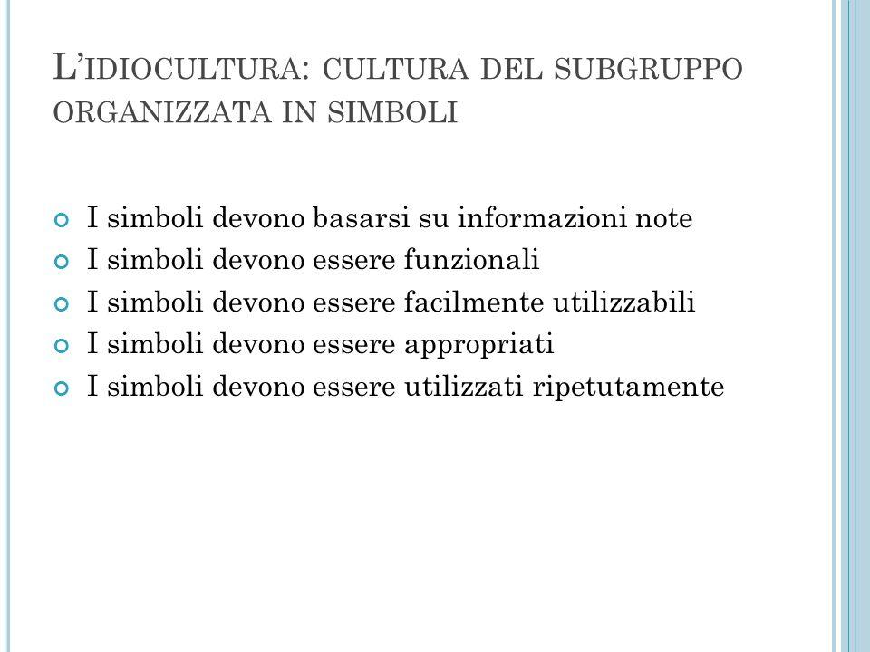 L'idiocultura: cultura del subgruppo organizzata in simboli
