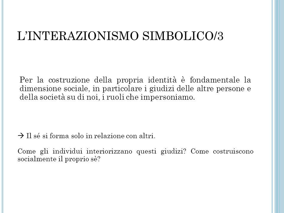 L'INTERAZIONISMO SIMBOLICO/3