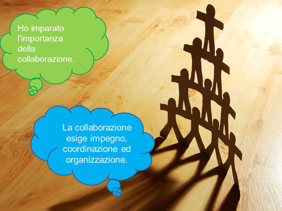 La collaborazione esige impegno, coordinazione ed organizzazione.