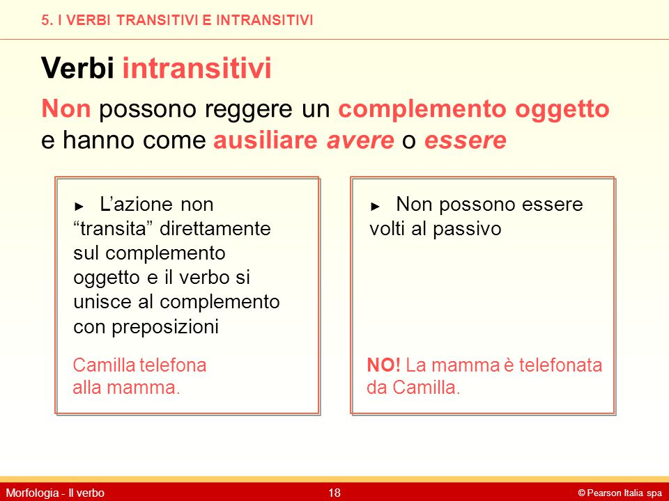 5. I VERBI TRANSITIVI E INTRANSITIVI