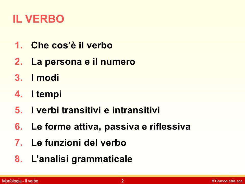IL VERBO Che cos'è il verbo La persona e il numero I modi I tempi