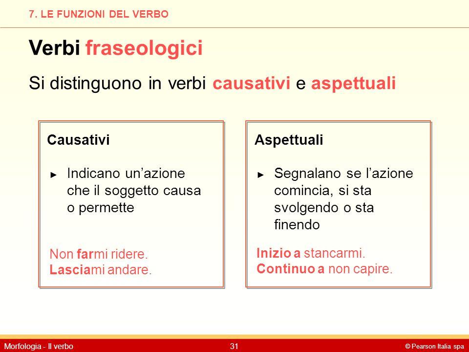Verbi fraseologici Si distinguono in verbi causativi e aspettuali