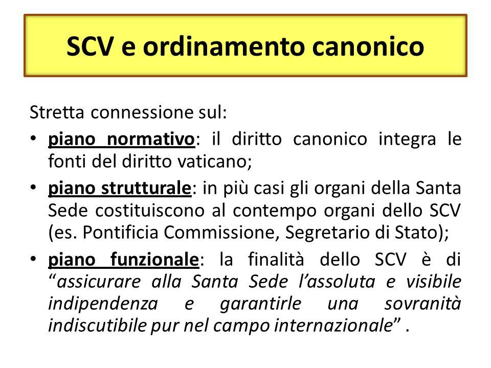SCV e ordinamento canonico