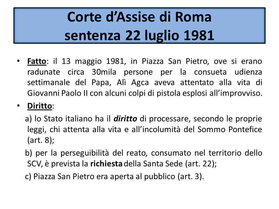 Corte d'Assise di Roma sentenza 22 luglio 1981