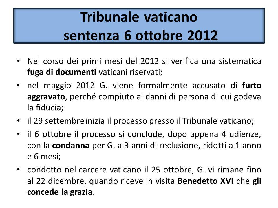 Tribunale vaticano sentenza 6 ottobre 2012