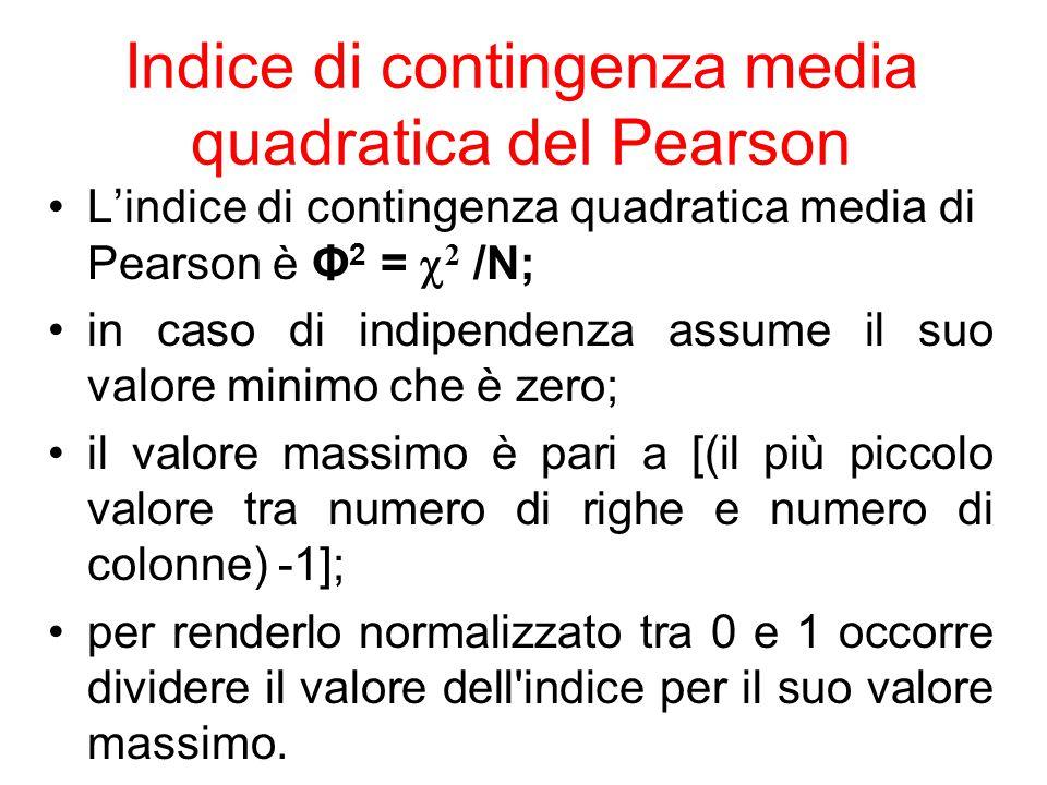 Indice di contingenza media quadratica del Pearson