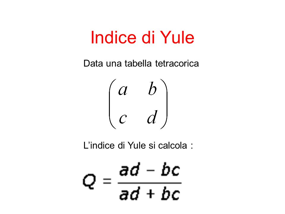 Indice di Yule Data una tabella tetracorica