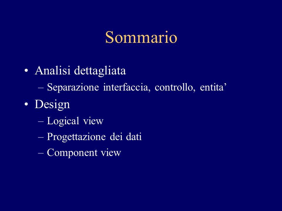 Sommario Analisi dettagliata Design