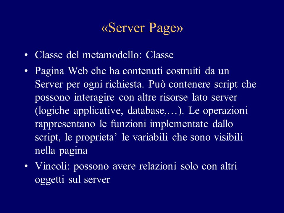 «Server Page» Classe del metamodello: Classe