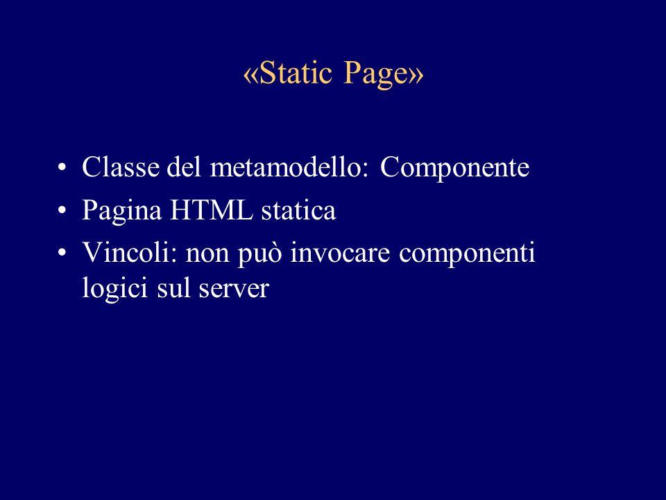 «Static Page» Classe del metamodello: Componente Pagina HTML statica