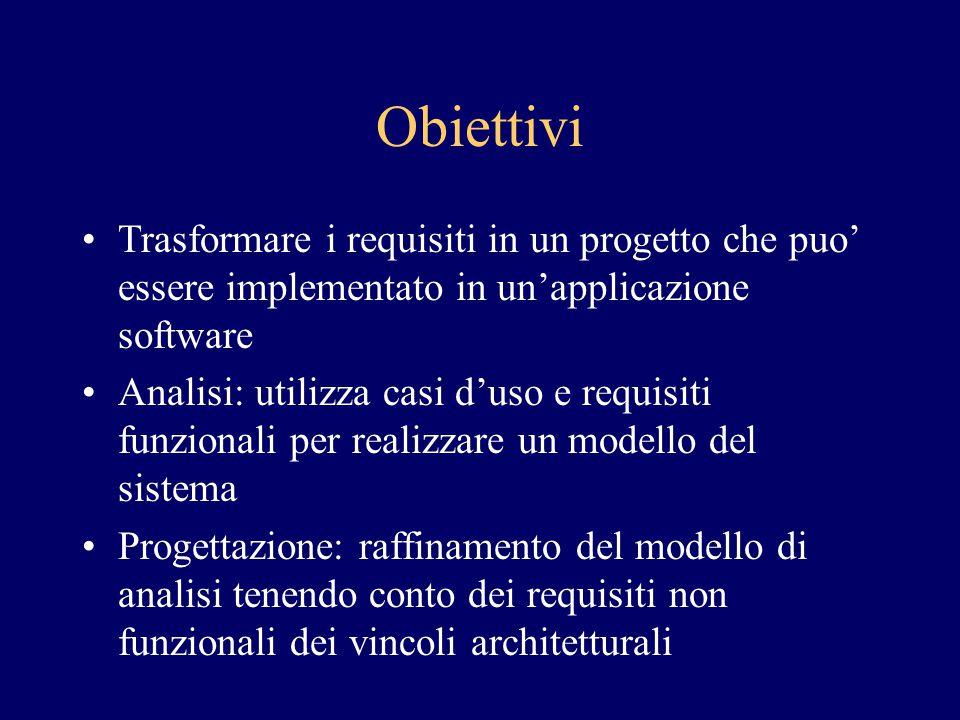 Obiettivi Trasformare i requisiti in un progetto che puo' essere implementato in un'applicazione software.