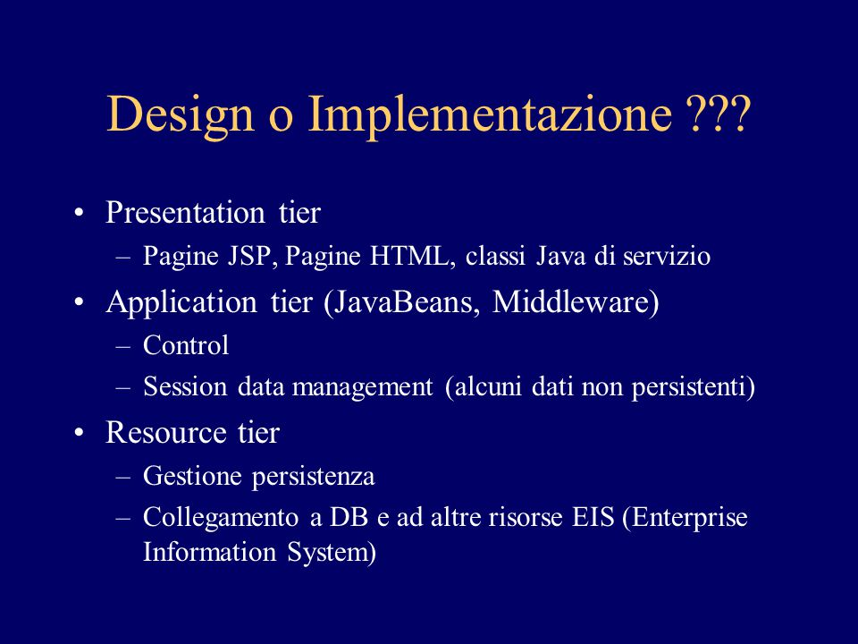 Design o Implementazione