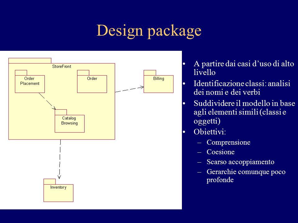 Design package A partire dai casi d'uso di alto livello