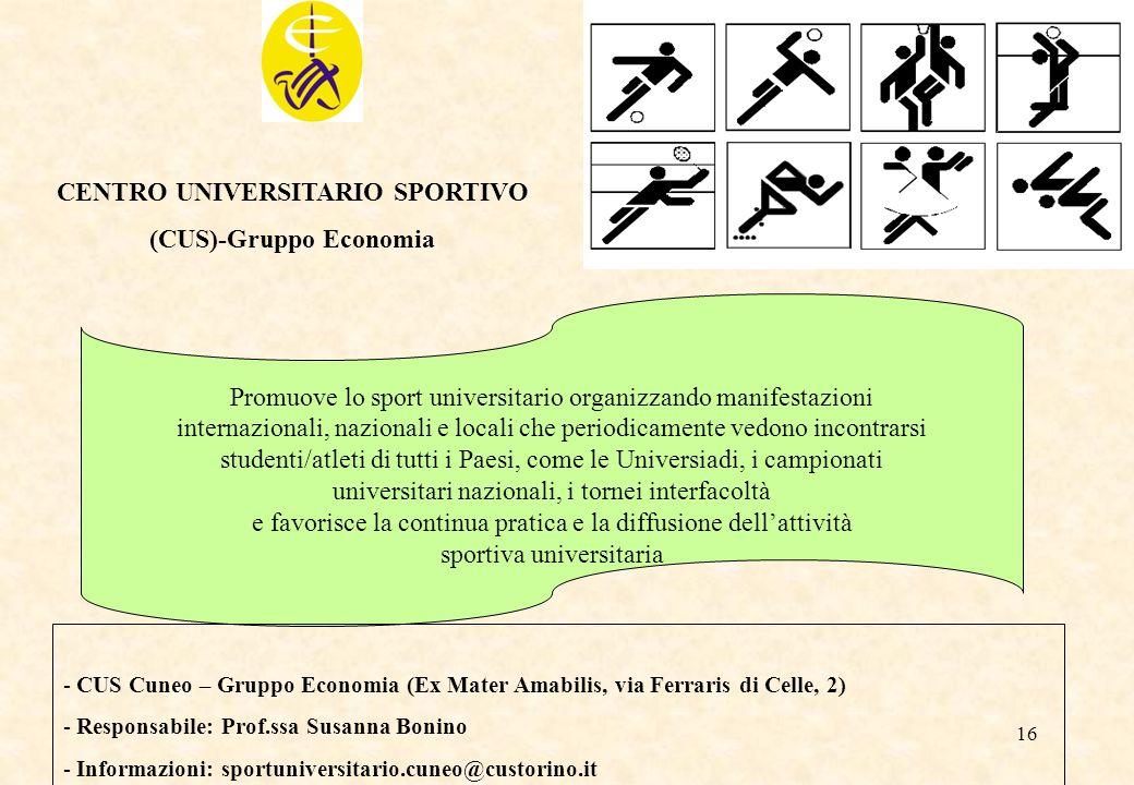 CENTRO UNIVERSITARIO SPORTIVO (CUS)-Gruppo Economia