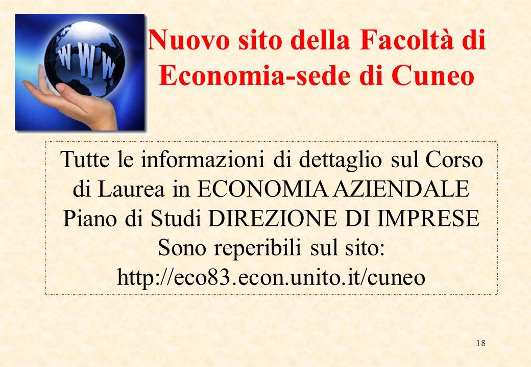 Nuovo sito della Facoltà di Economia-sede di Cuneo