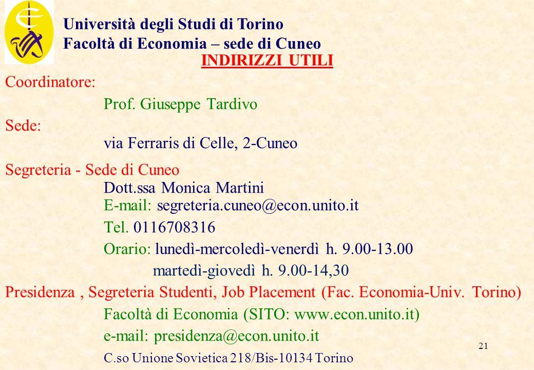Università degli Studi di Torino Facoltà di Economia – sede di Cuneo