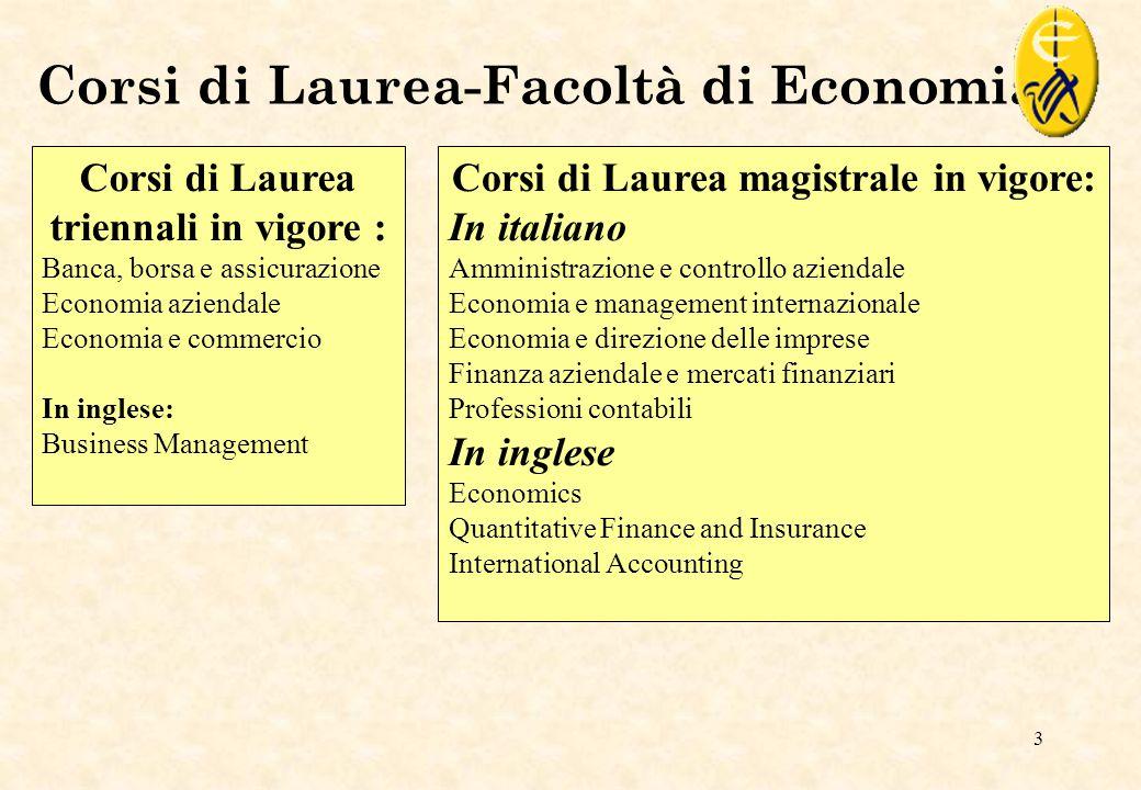Corsi di Laurea-Facoltà di Economia