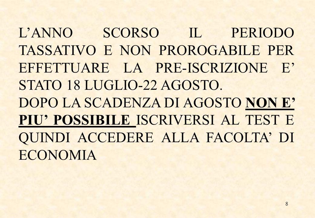 L'ANNO SCORSO IL PERIODO TASSATIVO E NON PROROGABILE PER EFFETTUARE LA PRE-ISCRIZIONE E' STATO 18 LUGLIO-22 AGOSTO.