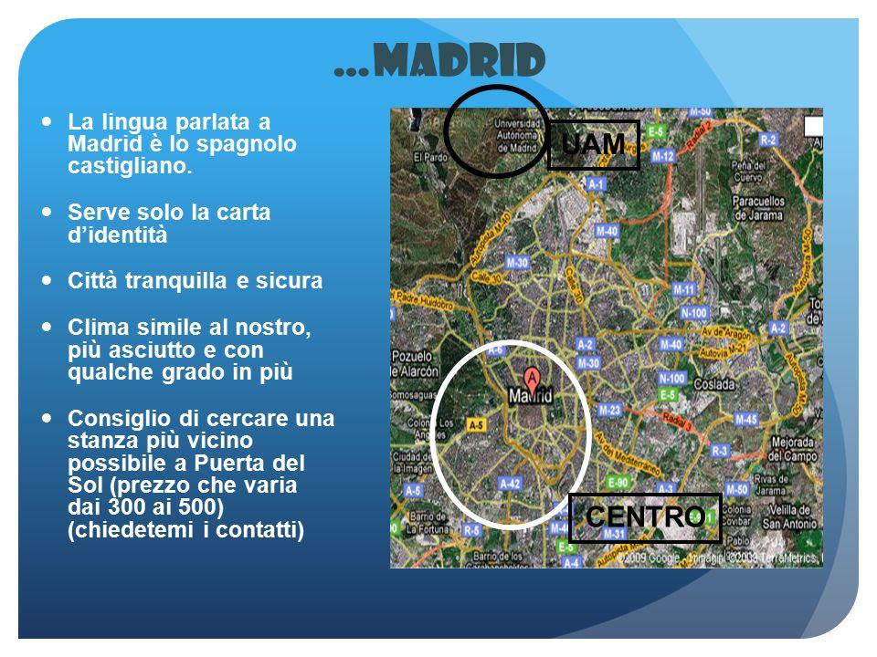 …Madrid La lingua parlata a Madrid è lo spagnolo castigliano. Serve solo la carta d'identità. Città tranquilla e sicura.