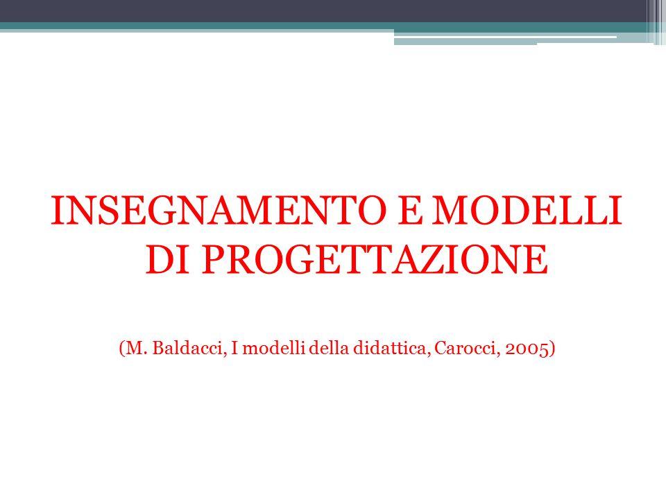 INSEGNAMENTO E MODELLI DI PROGETTAZIONE