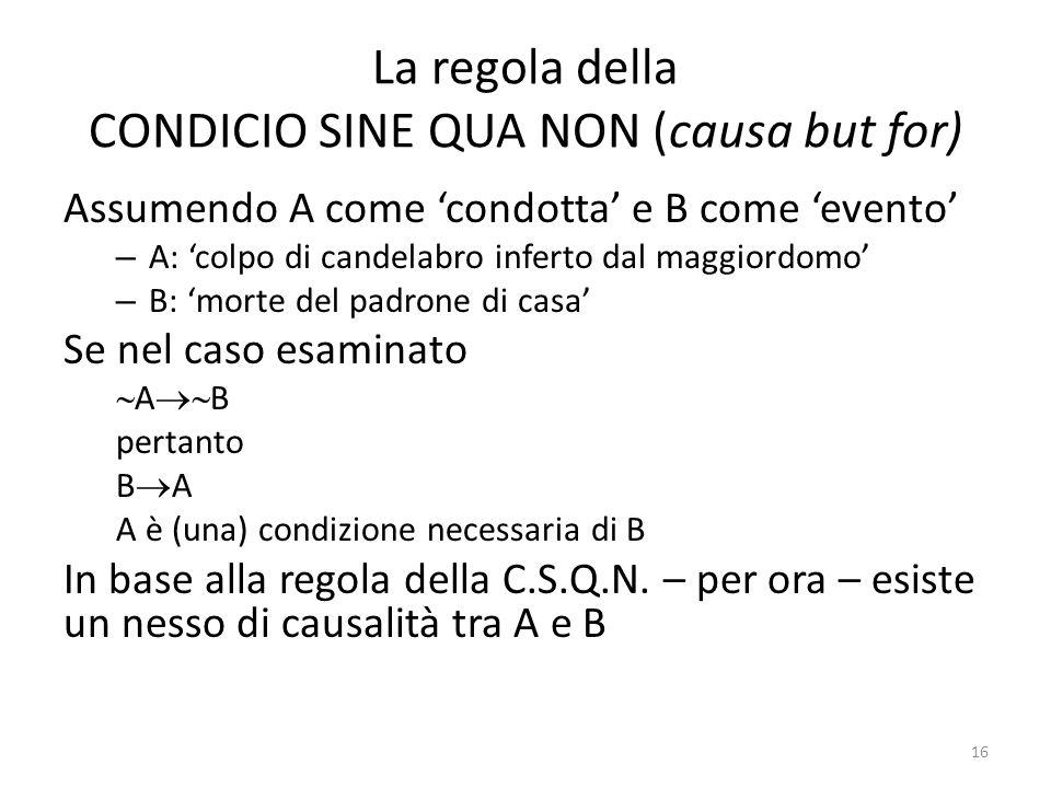La regola della CONDICIO SINE QUA NON (causa but for)