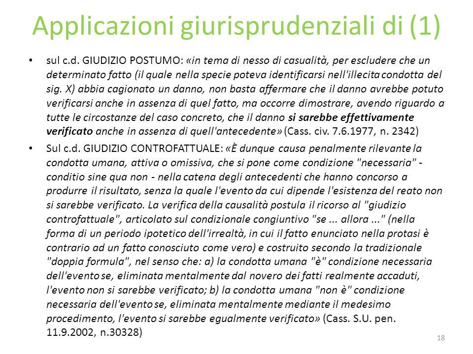 Applicazioni giurisprudenziali di (1)