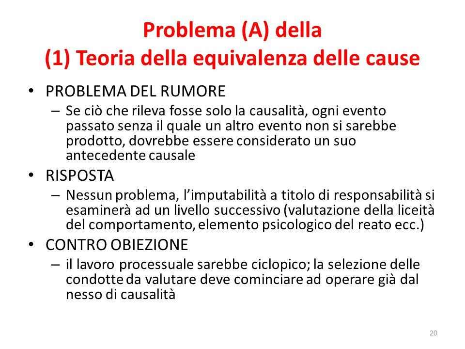Problema (A) della (1) Teoria della equivalenza delle cause