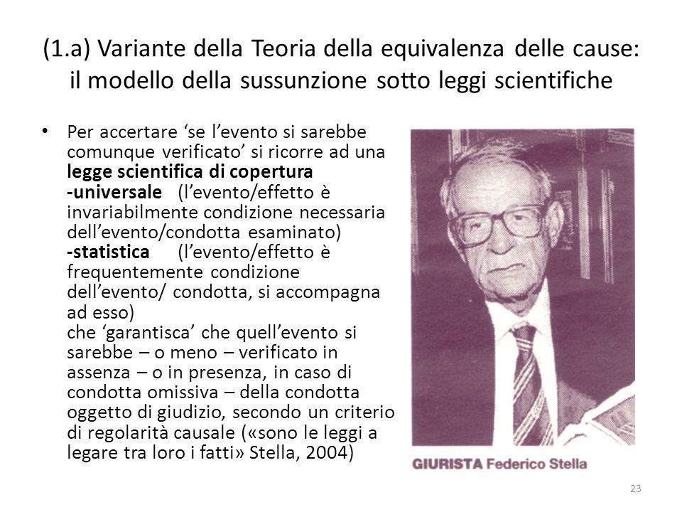 (1.a) Variante della Teoria della equivalenza delle cause: il modello della sussunzione sotto leggi scientifiche