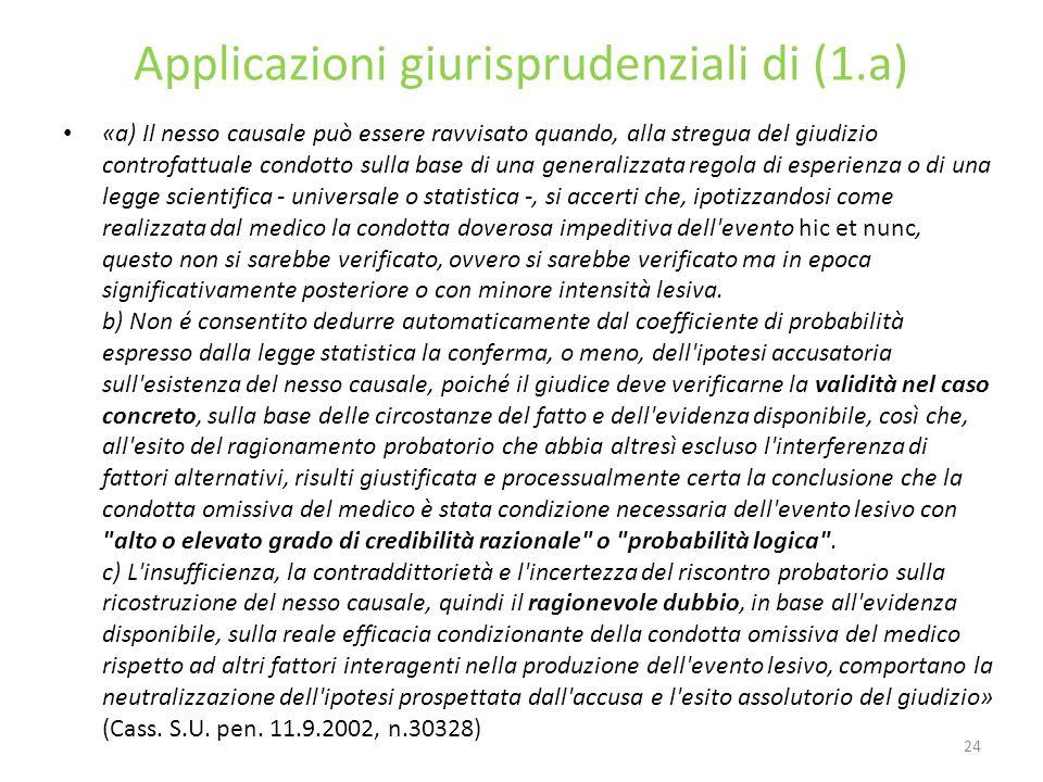 Applicazioni giurisprudenziali di (1.a)