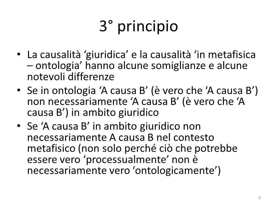 3° principio La causalità 'giuridica' e la causalità 'in metafisica – ontologia' hanno alcune somiglianze e alcune notevoli differenze.