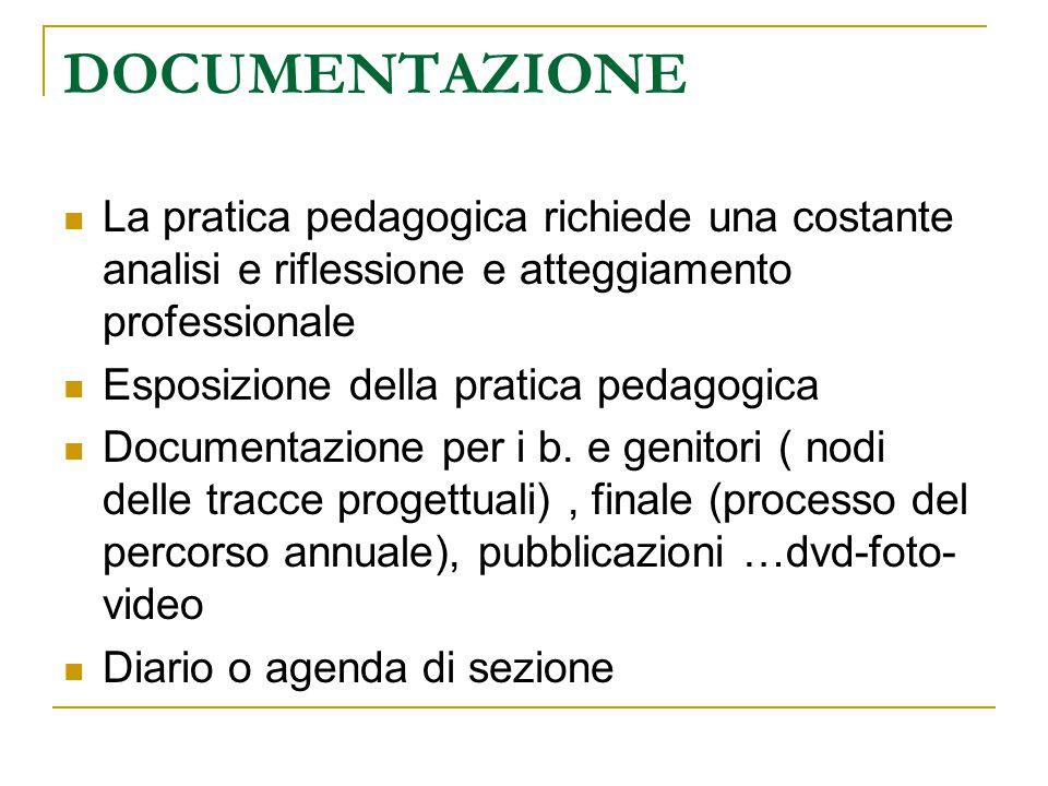DOCUMENTAZIONE La pratica pedagogica richiede una costante analisi e riflessione e atteggiamento professionale.