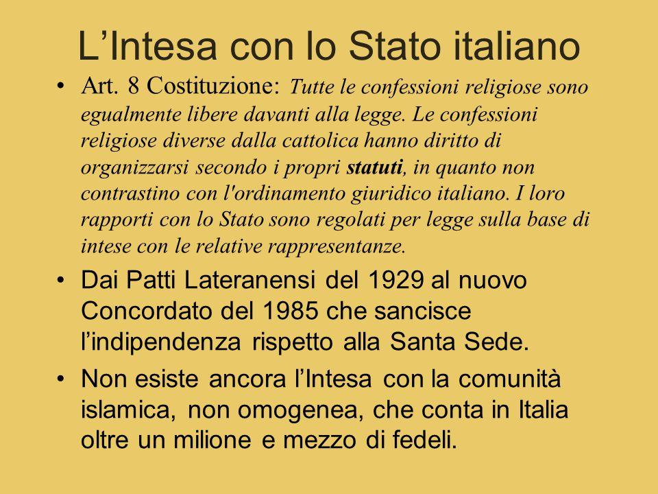 L'Intesa con lo Stato italiano