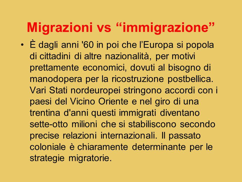 Migrazioni vs immigrazione