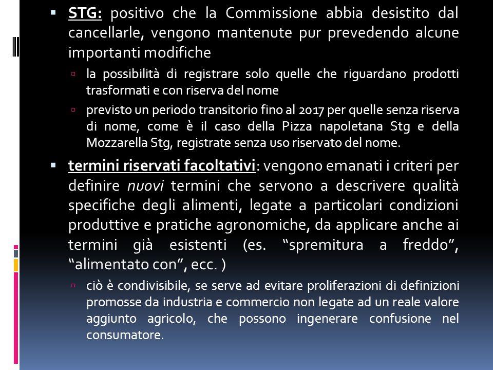 STG: positivo che la Commissione abbia desistito dal cancellarle, vengono mantenute pur prevedendo alcune importanti modifiche