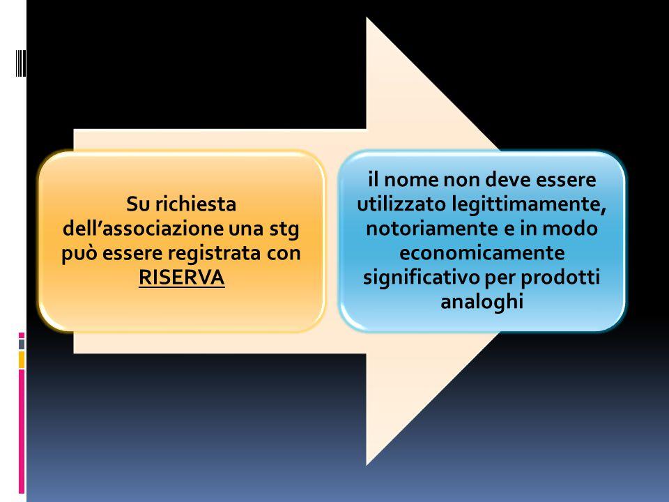 Su richiesta dell'associazione una stg può essere registrata con RISERVA