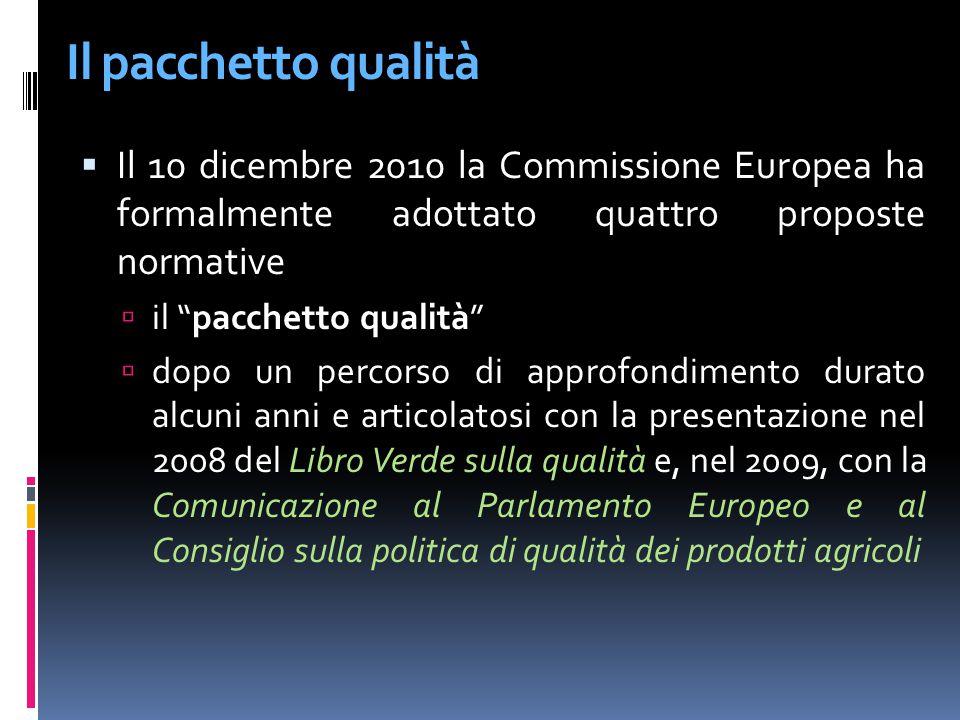 Il pacchetto qualità Il 10 dicembre 2010 la Commissione Europea ha formalmente adottato quattro proposte normative.