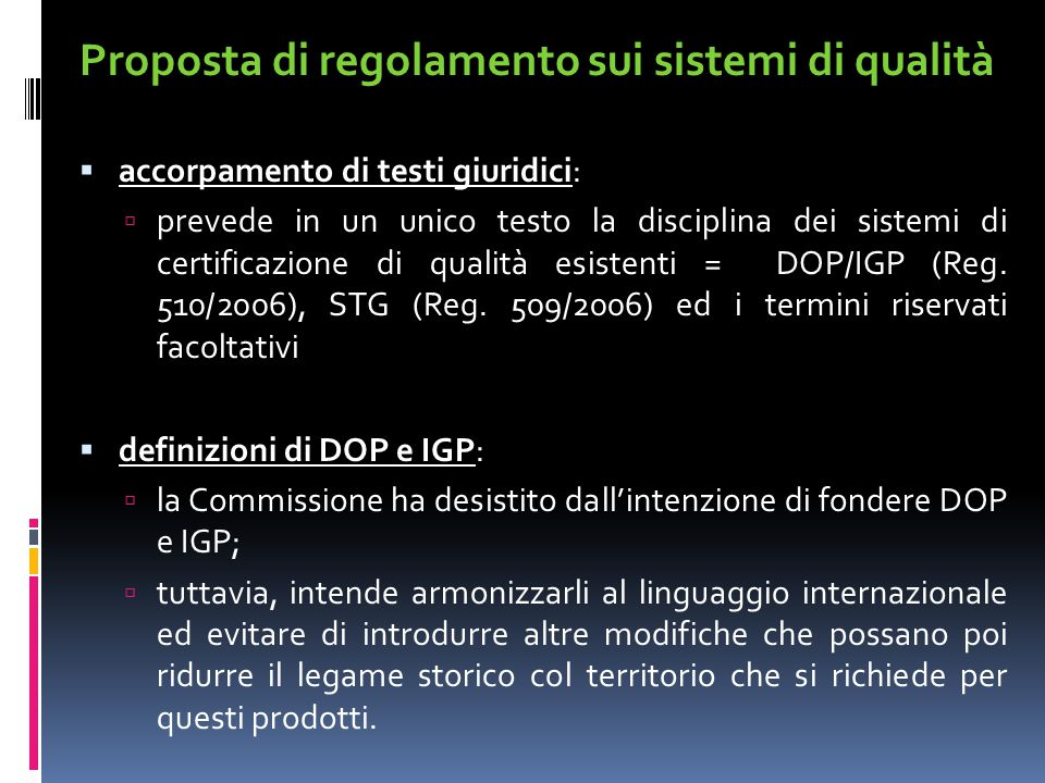 Proposta di regolamento sui sistemi di qualità
