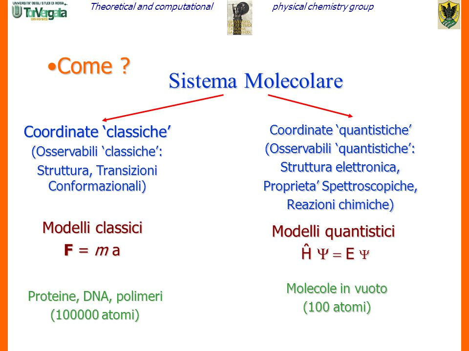 Come Sistema Molecolare Coordinate 'classiche' Modelli classici