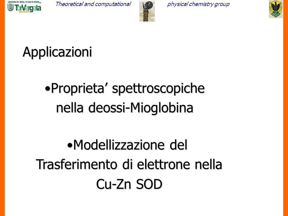 Proprieta' spettroscopiche nella deossi-Mioglobina