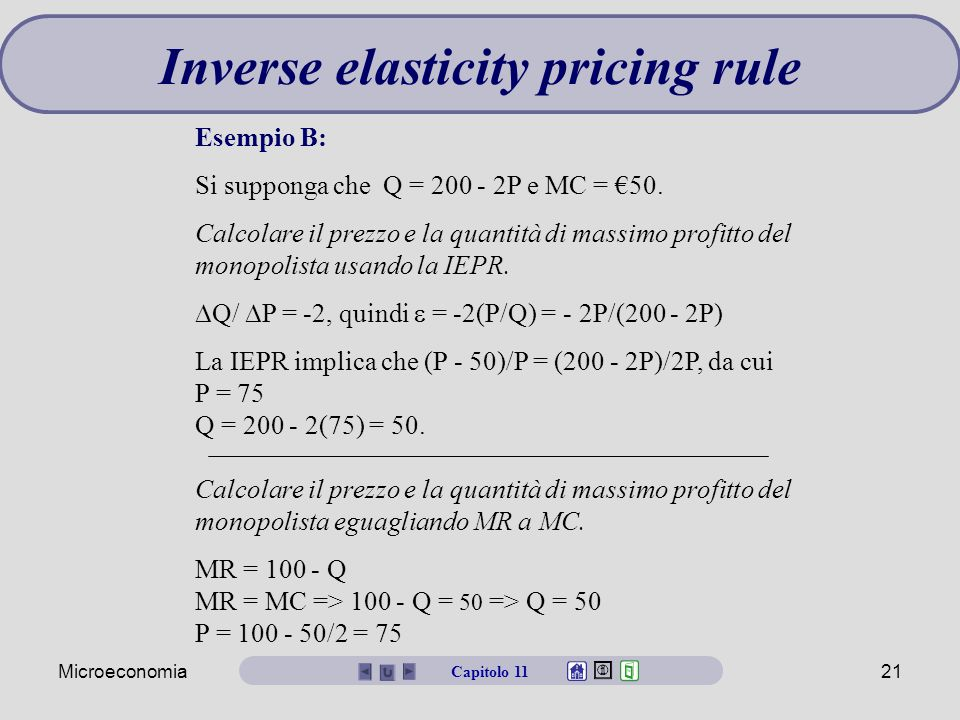 Inverse elasticity pricing rule