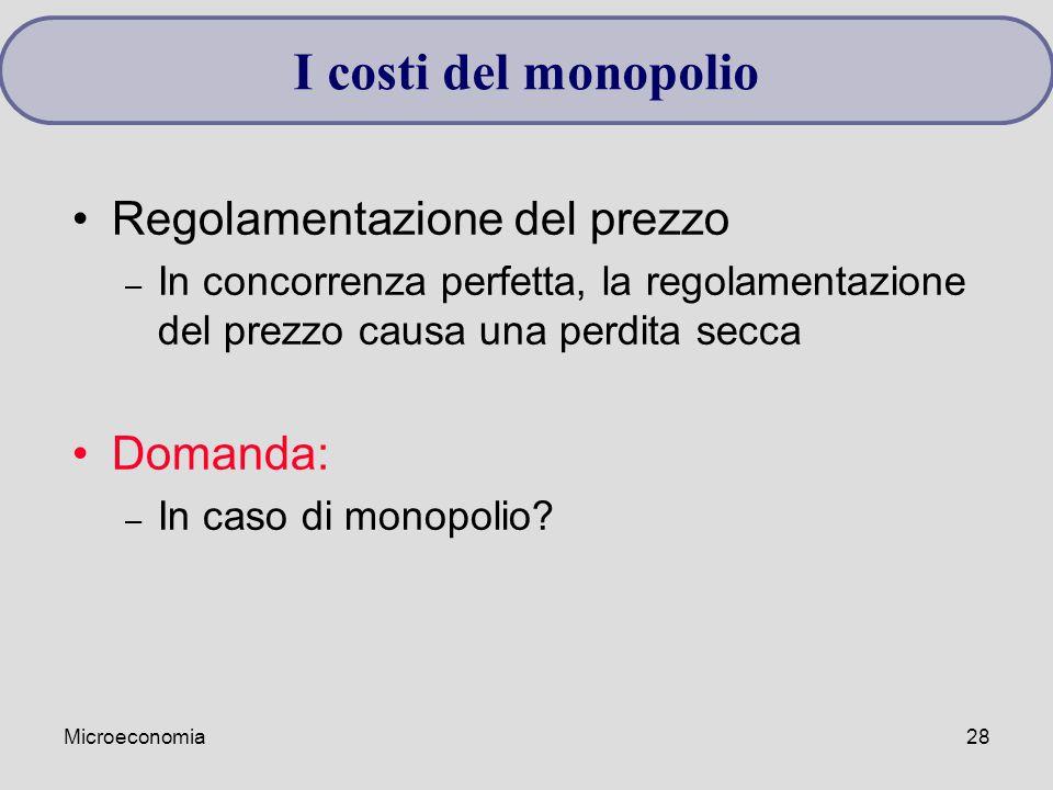 I costi del monopolio Regolamentazione del prezzo Domanda: