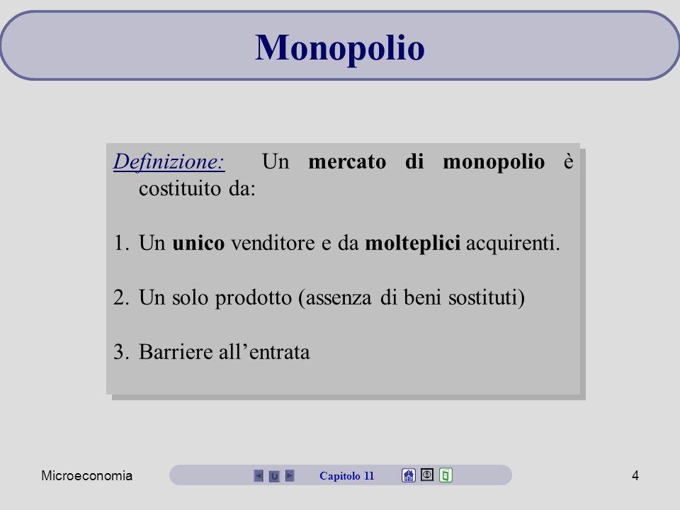 Monopolio Definizione: Un mercato di monopolio è costituito da: