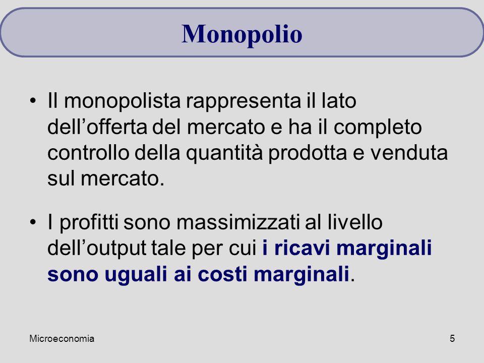 Monopolio Il monopolista rappresenta il lato dell'offerta del mercato e ha il completo controllo della quantità prodotta e venduta sul mercato.