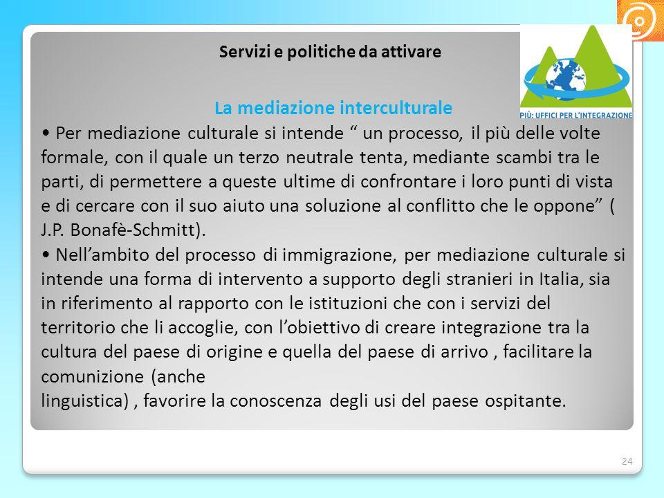 Servizi e politiche da attivare La mediazione interculturale